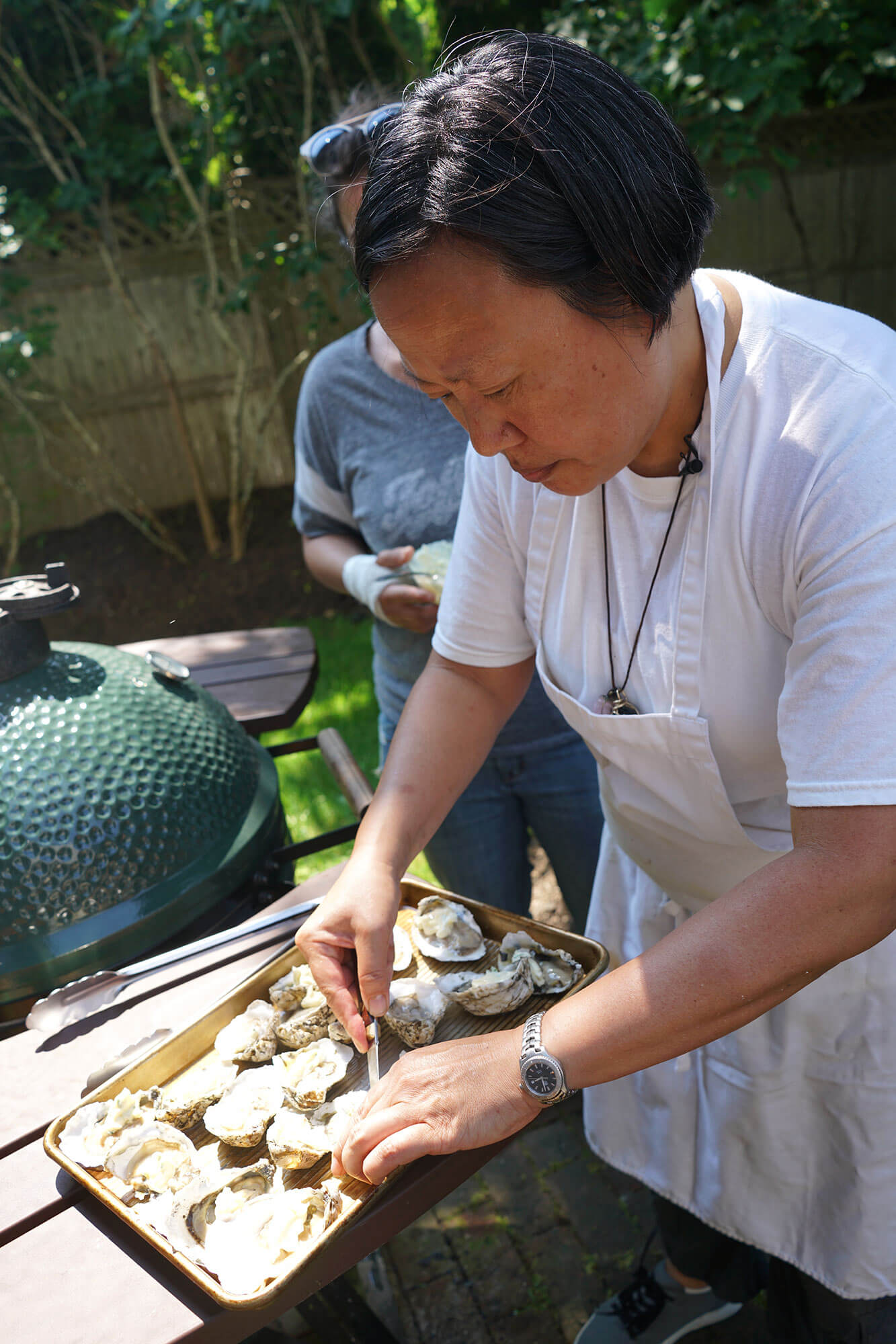 Anita preparing Oysters