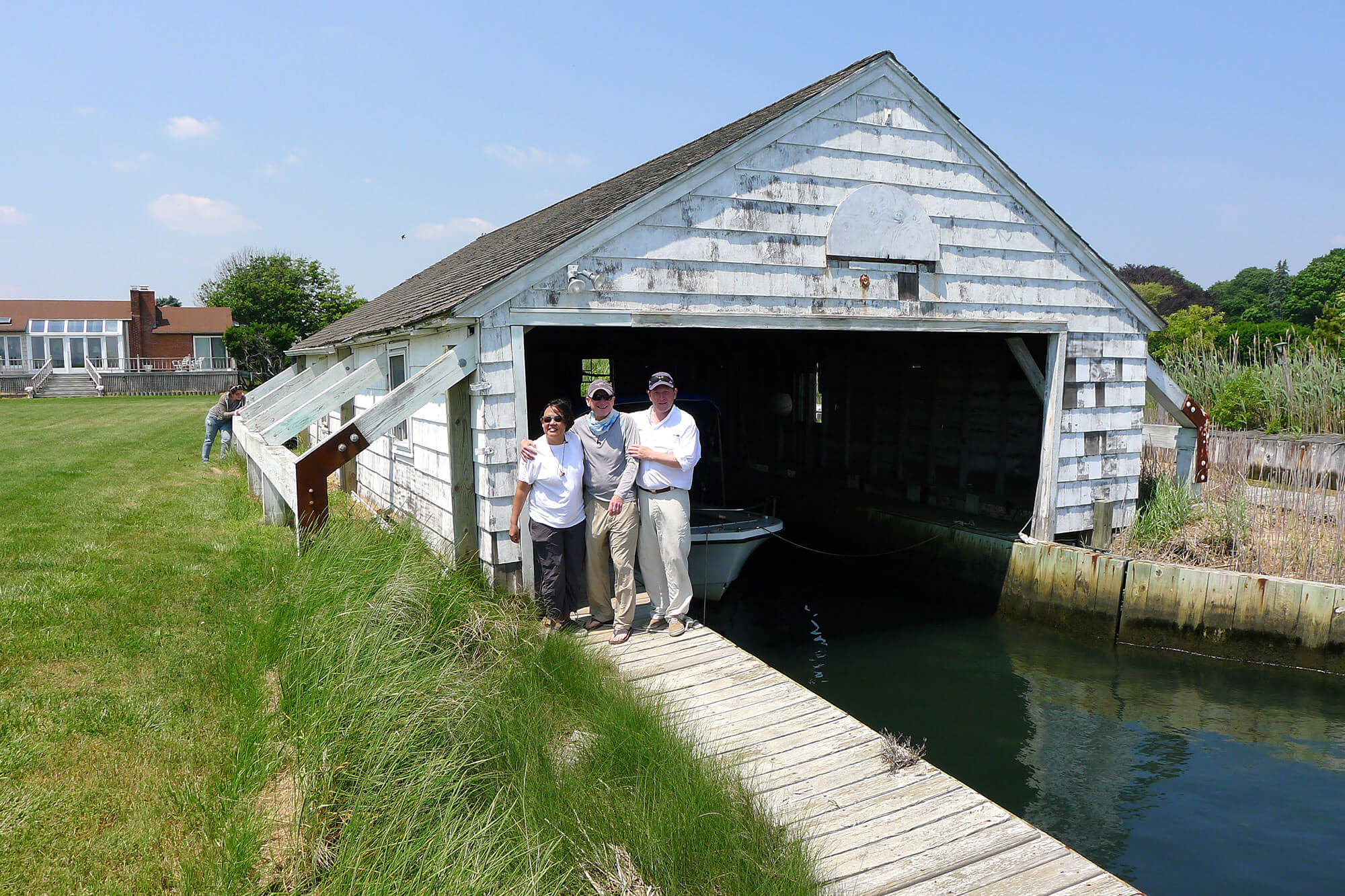 Capt. Levison, Chef Lo, Host Ambrose at the Boathouse on Moriches bay