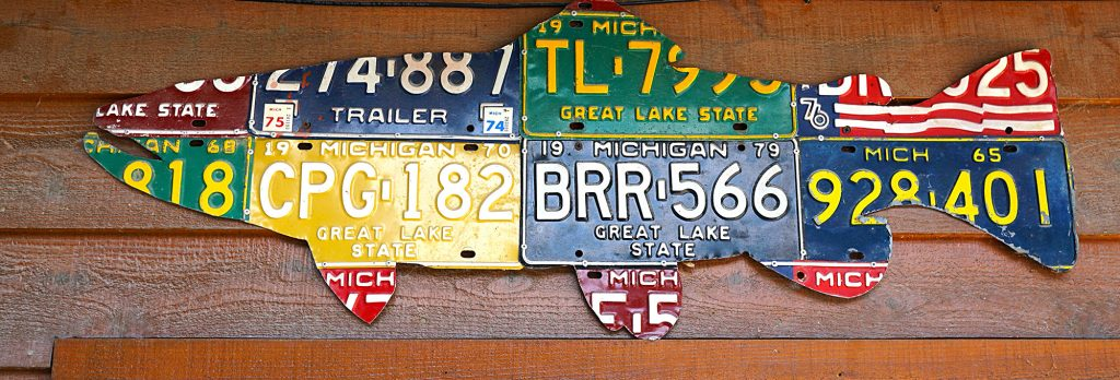 License plate trout | above the fly shop door at the Gates Lodge