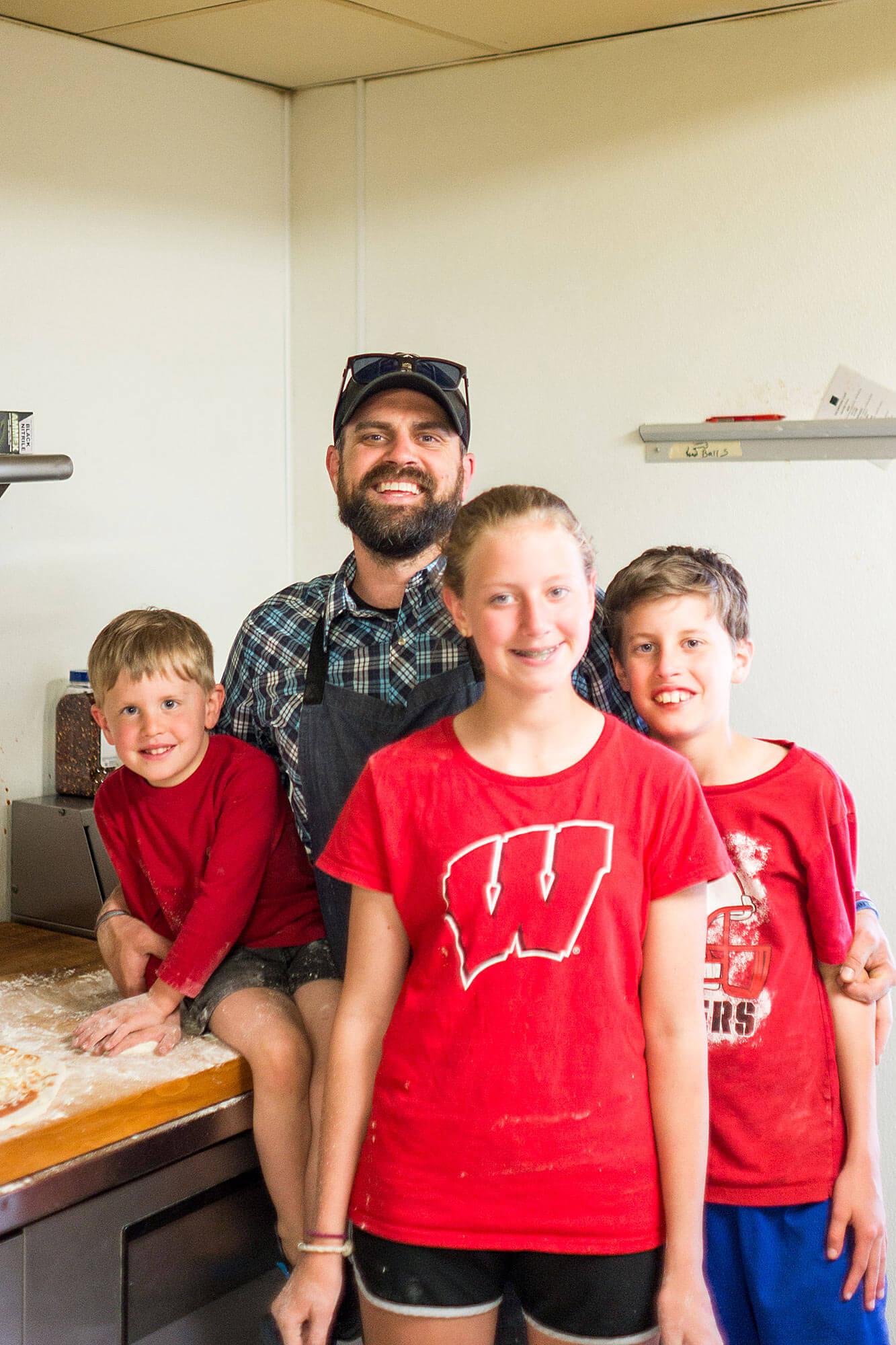 Chef Luke Zahm and his kids at the Driftless Cafe, Viroqua, Wisconsin | Driftless Cafe chef Luke Zahm is James Beard Award semifinalist