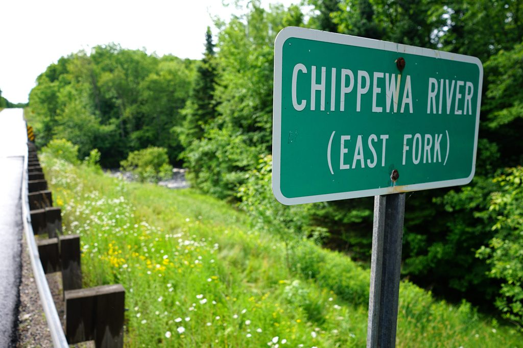Chippewa River sign in Hayward | American Rivers Musky Trip