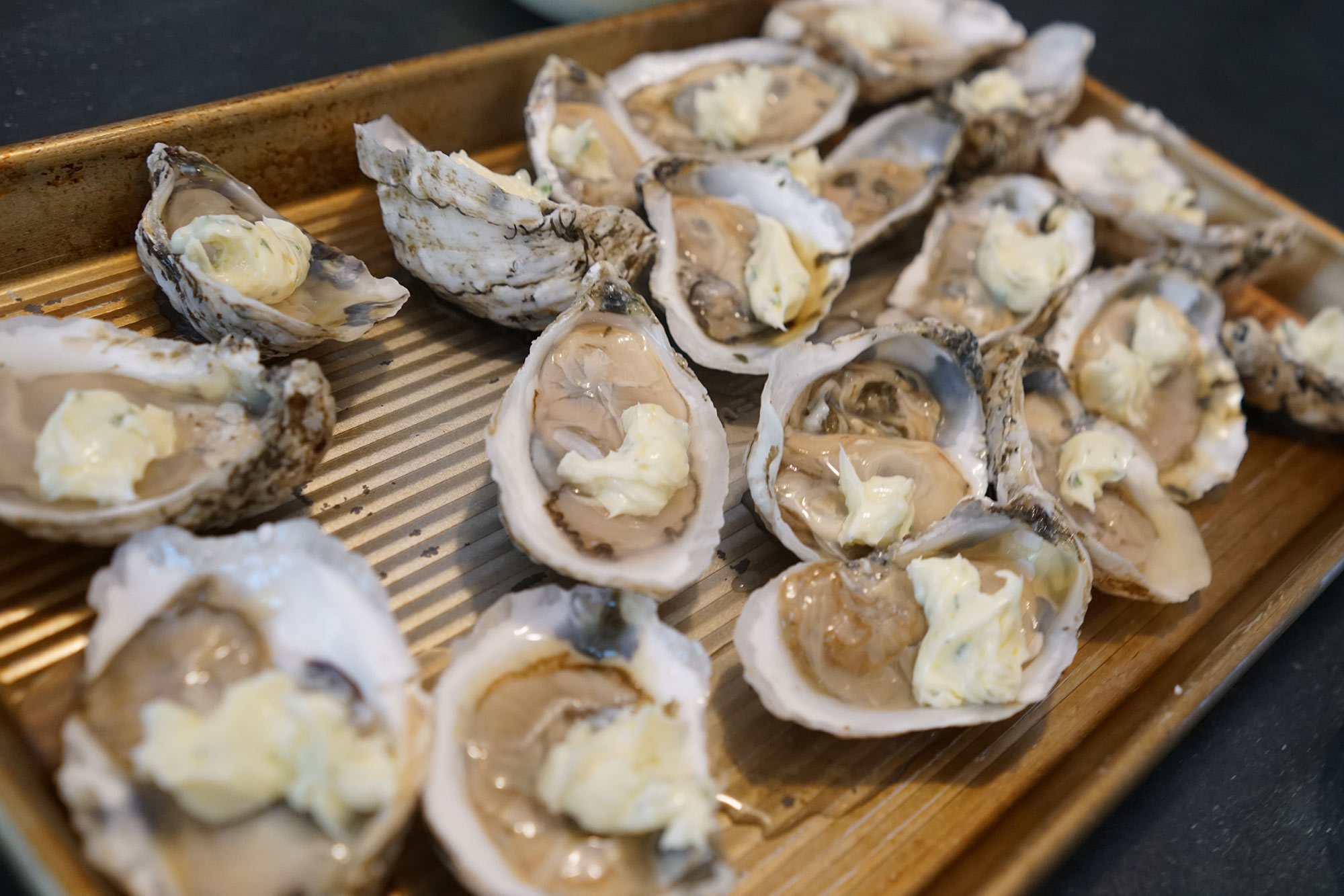 Moriches Bay, New York Grilled Oysters