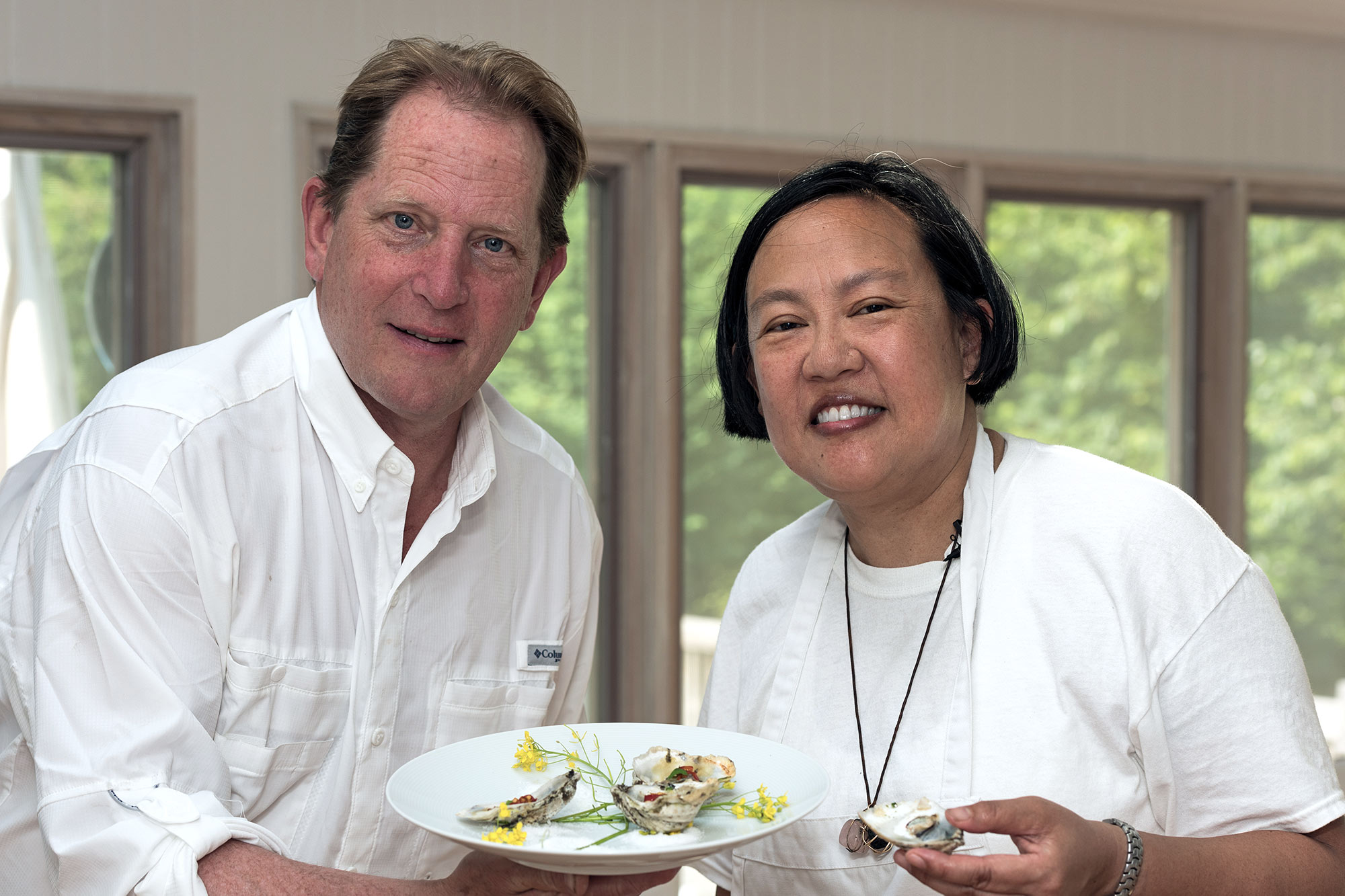 Chef Anita Lo and Chef Colin Ambrose | Moriches Bay, New York