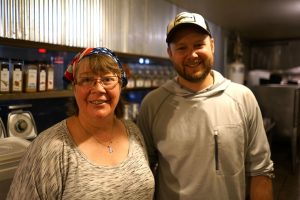 Cheryl the chef & Jason the brewer at Angry Minnow