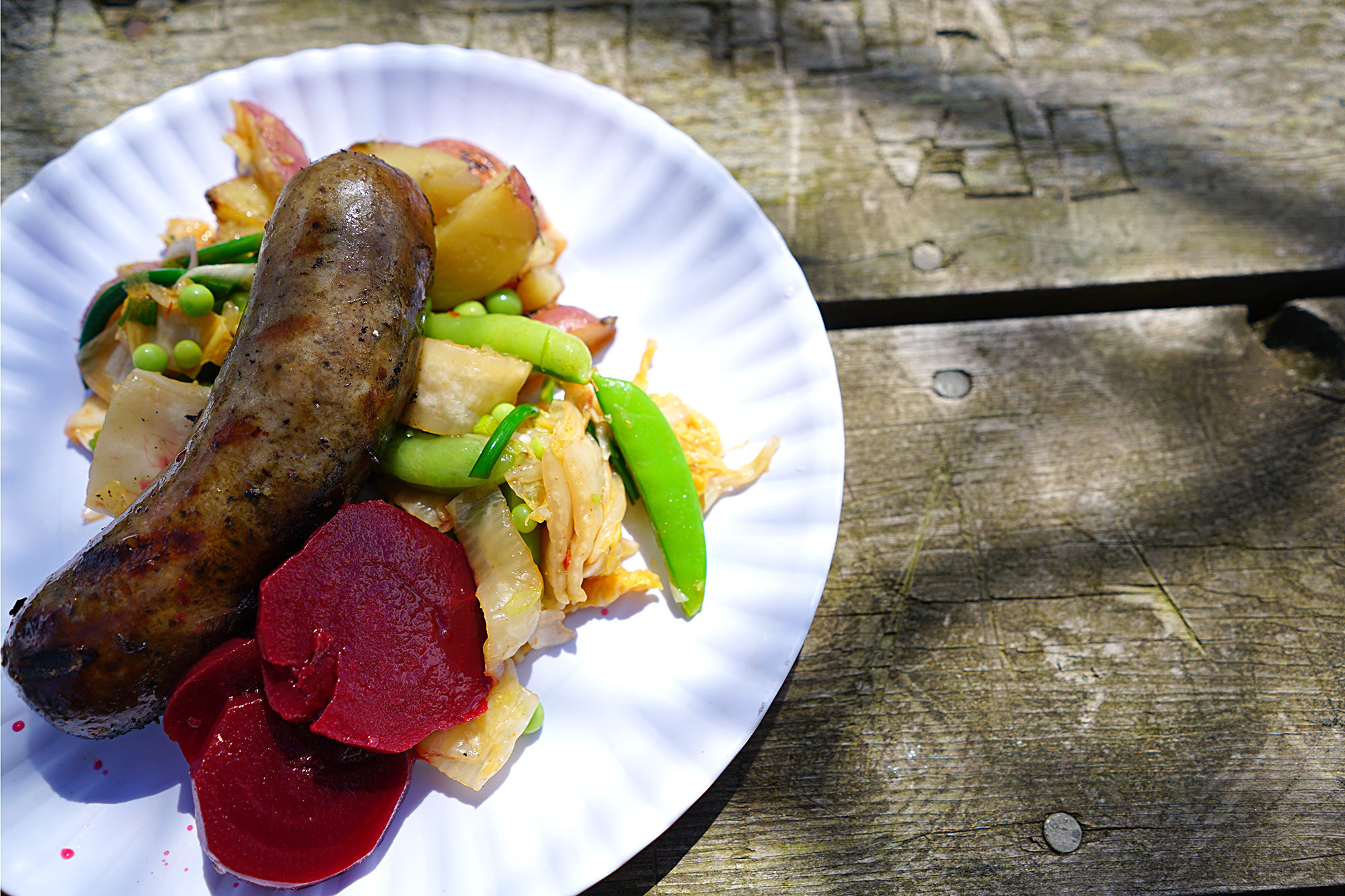 Musky Country Salad with Bratwurst