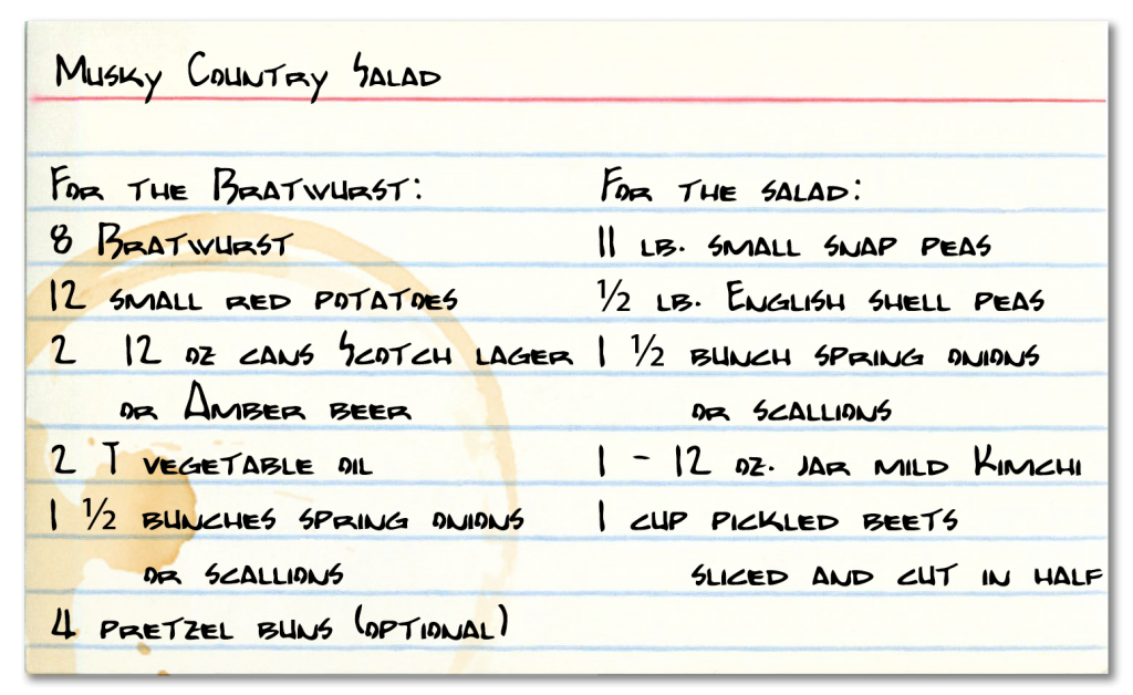 Recipe ingredients card for Musky Country Salad