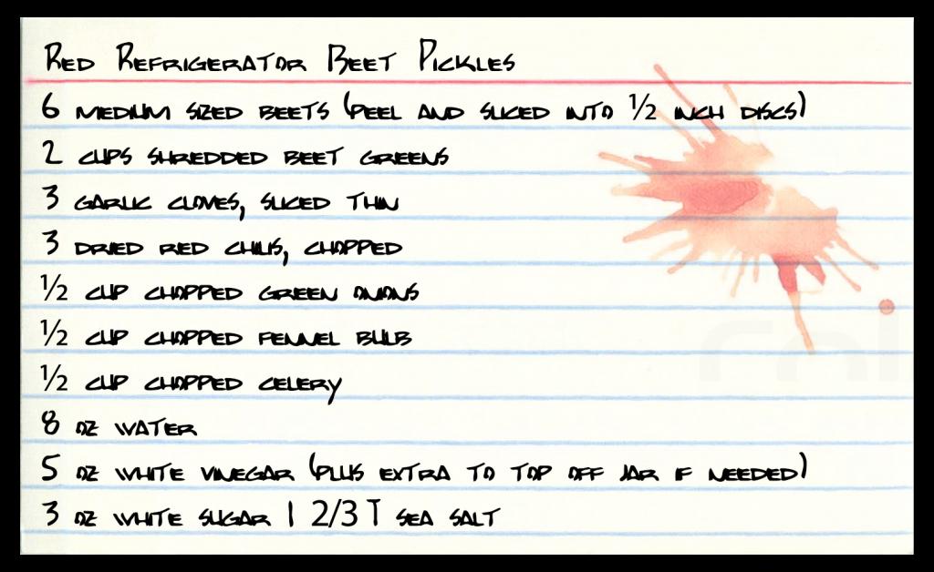 Red Refrigerator Beet Pickle recipe card