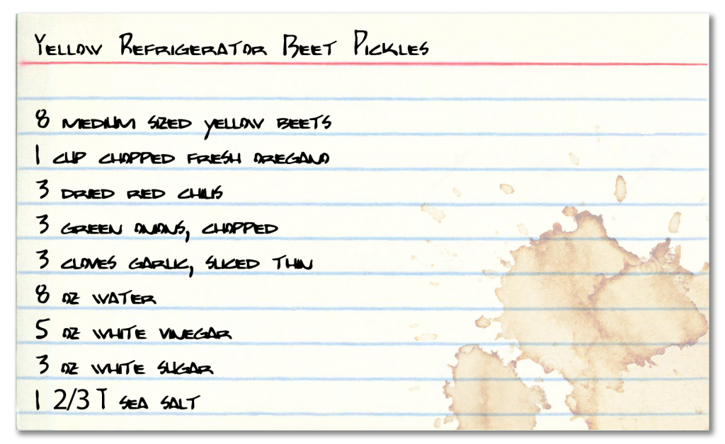 Yellow Refrigerator Beet Pickle recipe card