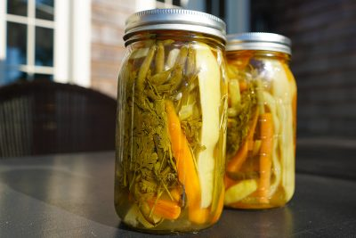 Vegetable Escabeche made with mid summer flat and string beans, carrots, cilantro, garlic