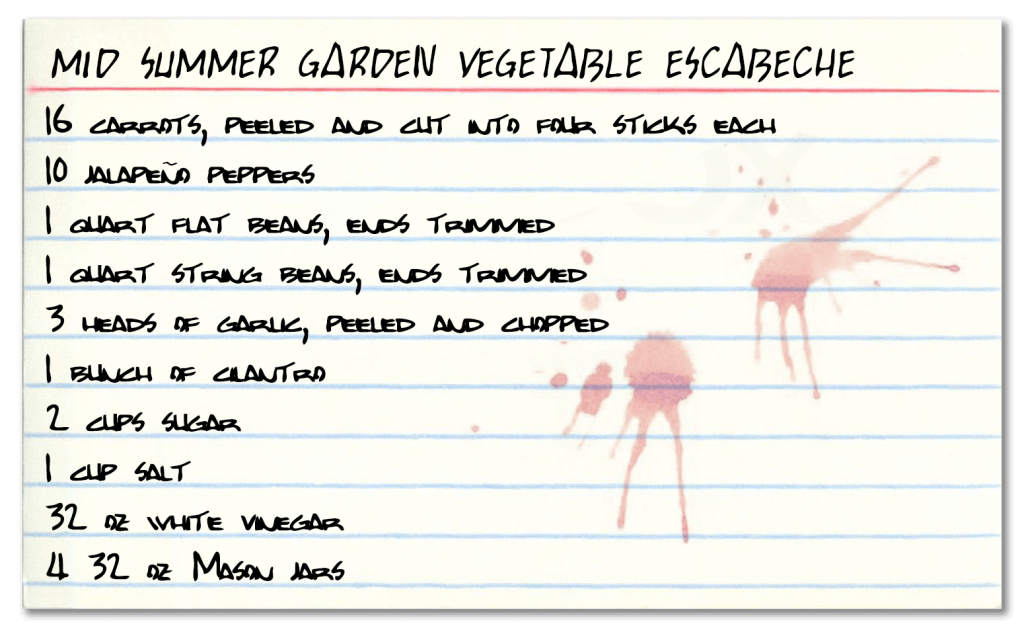 Recipe for Vegetable Escabeche made with mid summer flat and string beans, carrots, cilantro, garlic