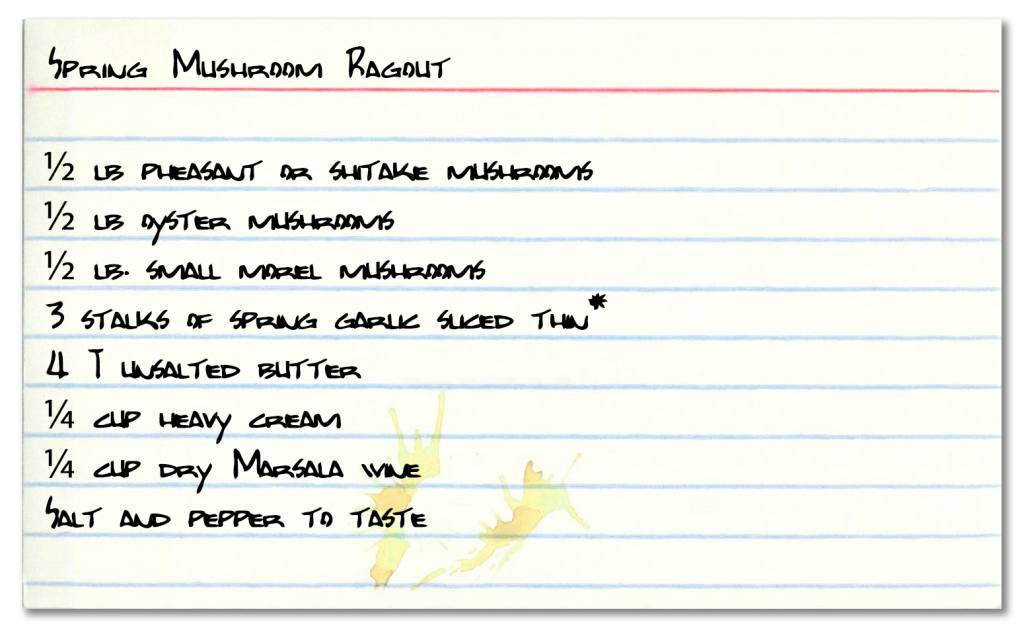Recipe card for wild mushroom ragout   American Rivers Tour to Driftless Area, Wisconsin