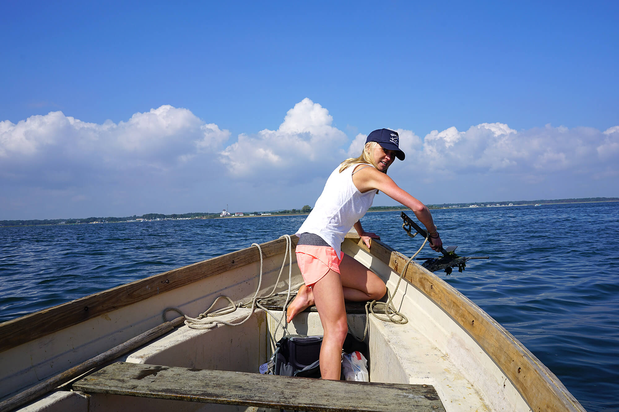 Lyman pulling up the anchor