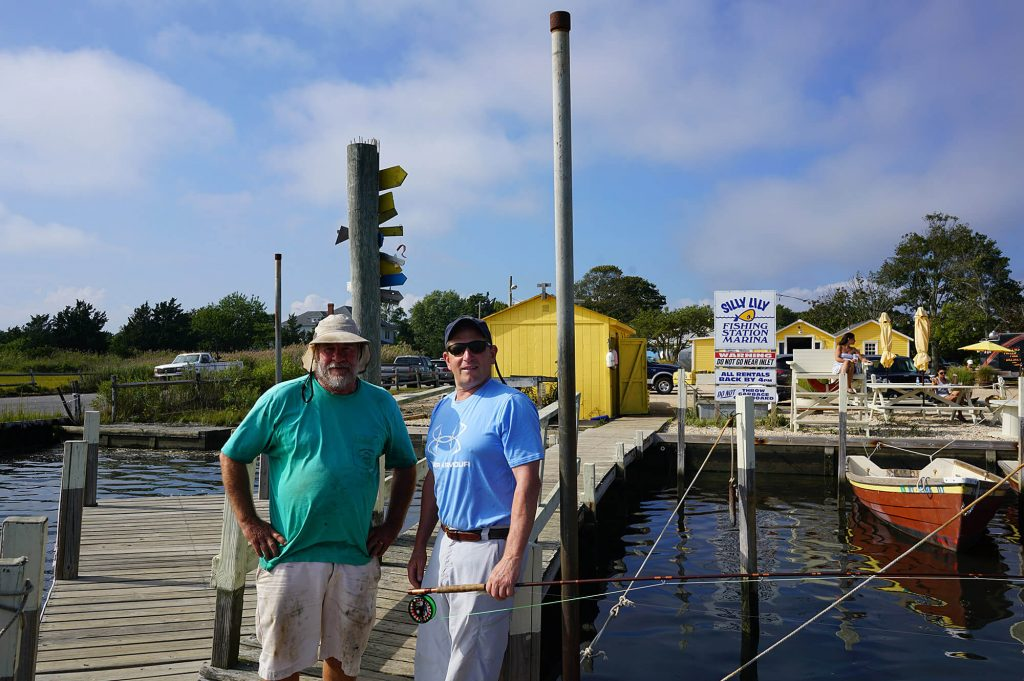 Colin with manager Gary Grunsweichy at the Silly Lily fishing station in Moriches Bay, New York