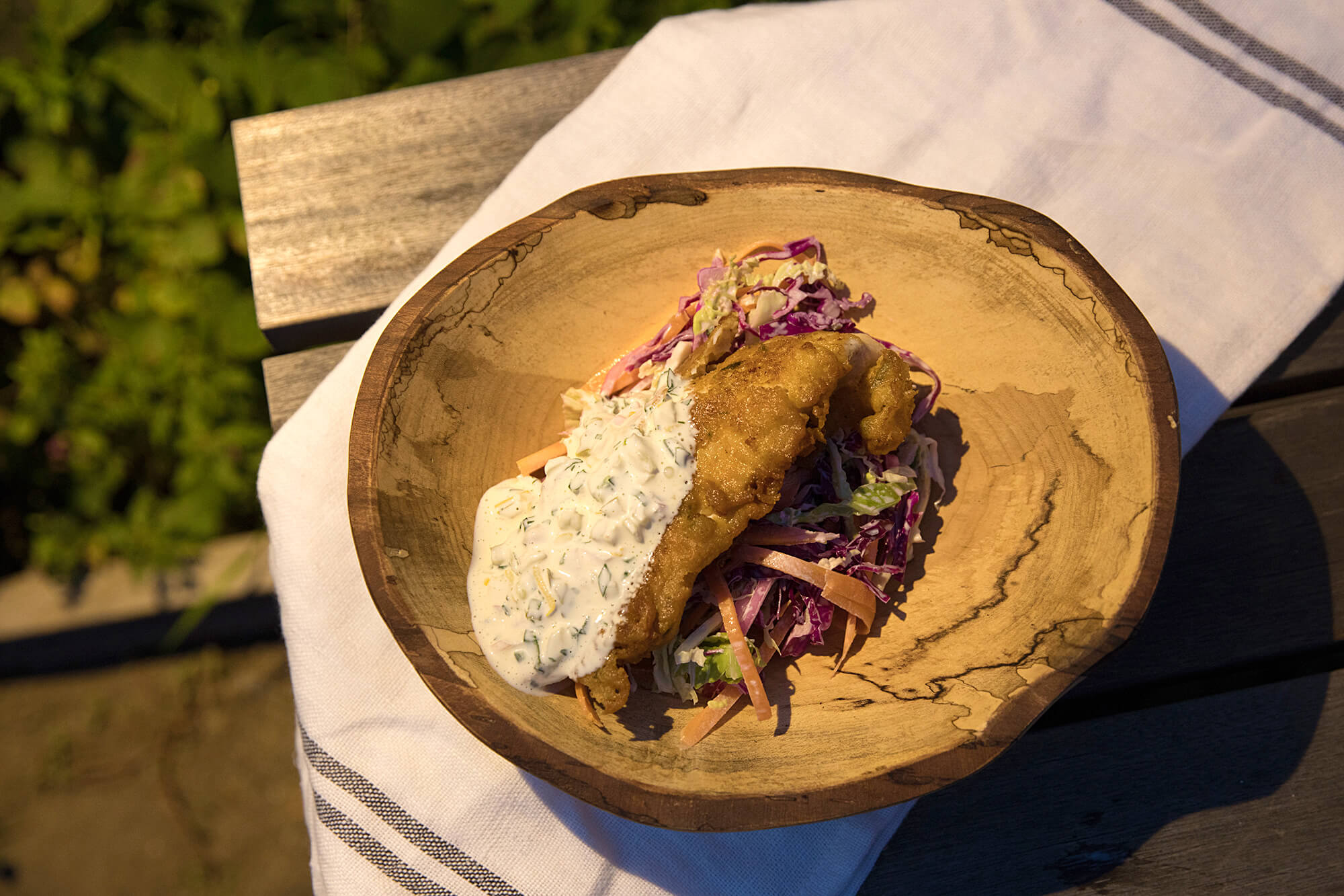 Cornmeal crusted Catfish with fireworks slaw
