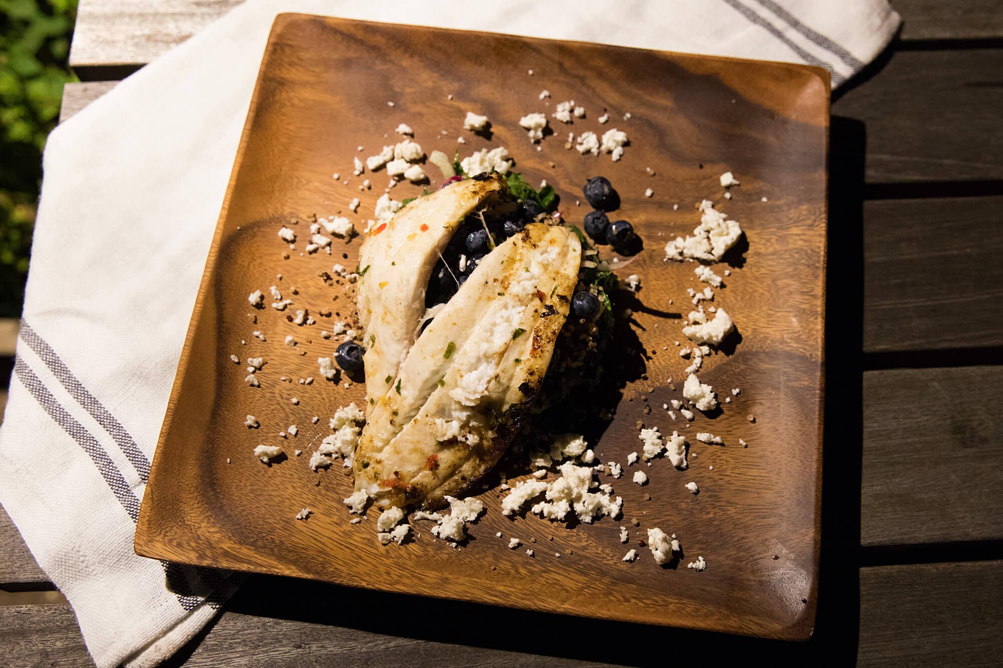 Grilled fluke with kale salad