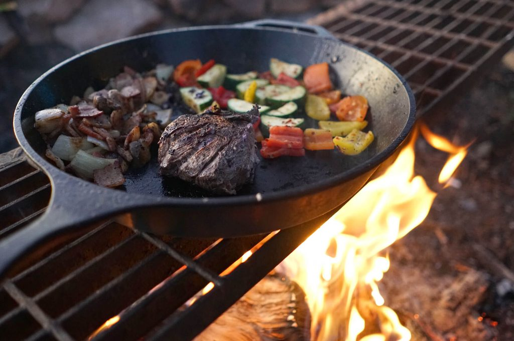 Bison Filet, red onions, mixed peppers, zucchini