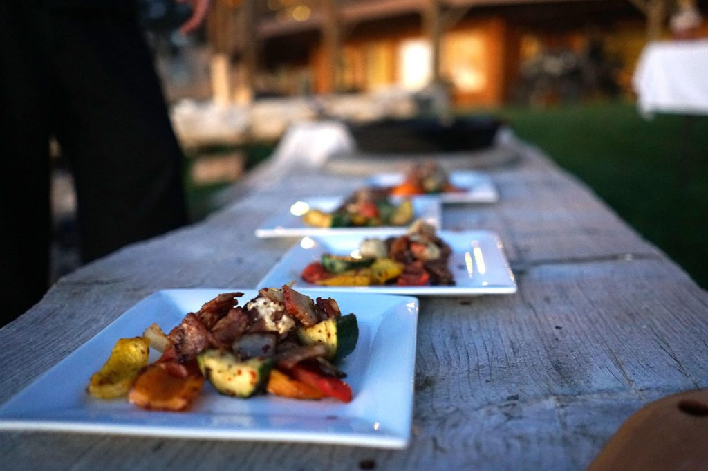 Plating the Bison Filet meal at The Lakeside Lodge in Idaho