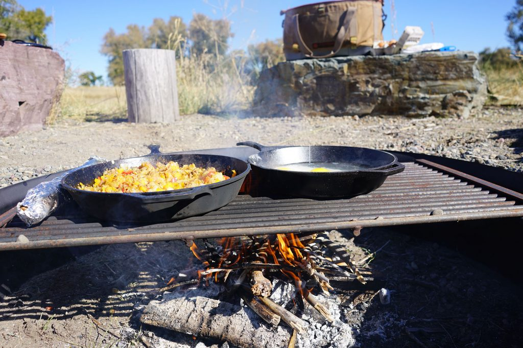Cooking with cast iron over fire