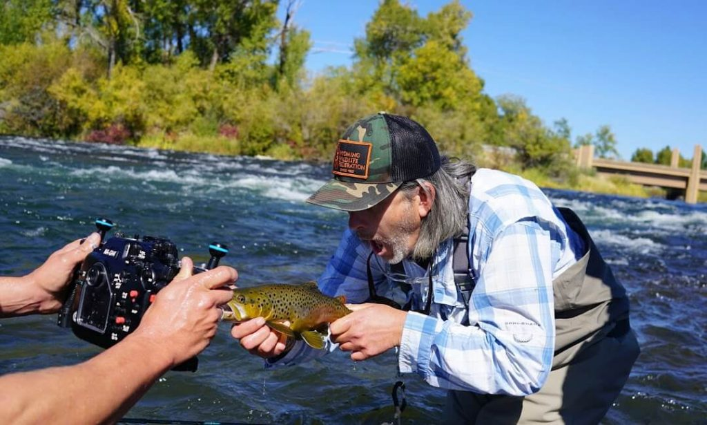 Simbo hams it up with a Henrys Fork Brown Trout | Mr. Brown on camera
