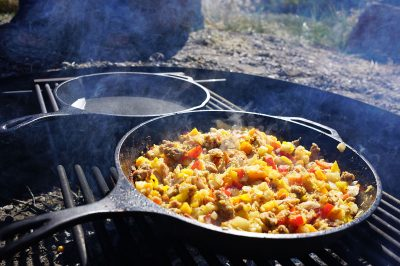 Red Flannel Hash, cooking ovr fire on Henry's Fork in Idaho