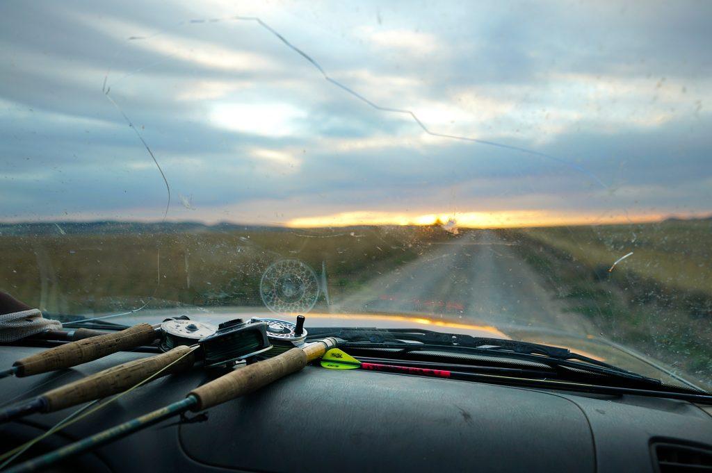 Guides windshield and Idaho sunset