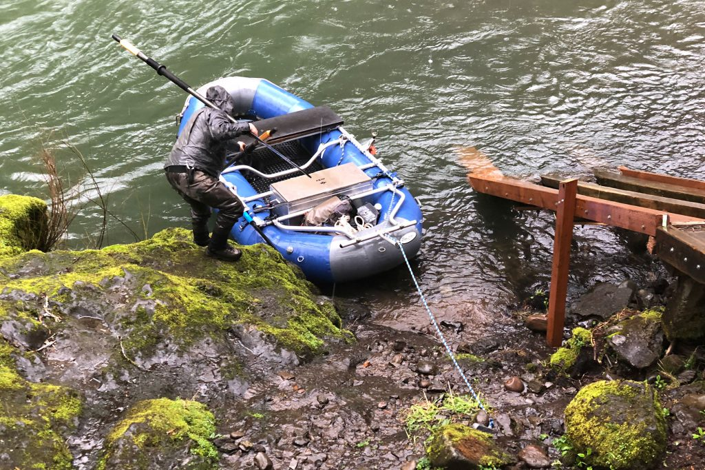 inflatable raft put in at the Trask River, Oregon