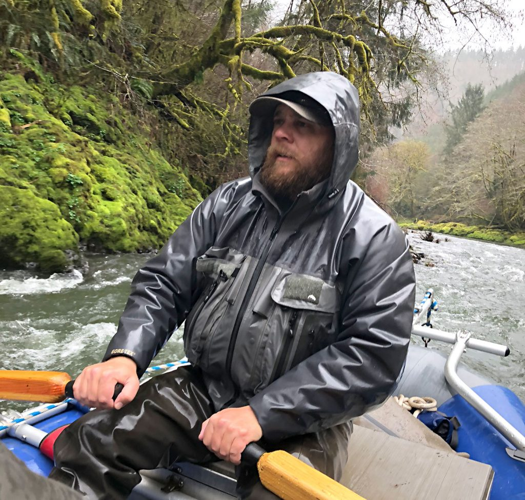 J.C. guiding us along the trask river with views of lush moss and green forests