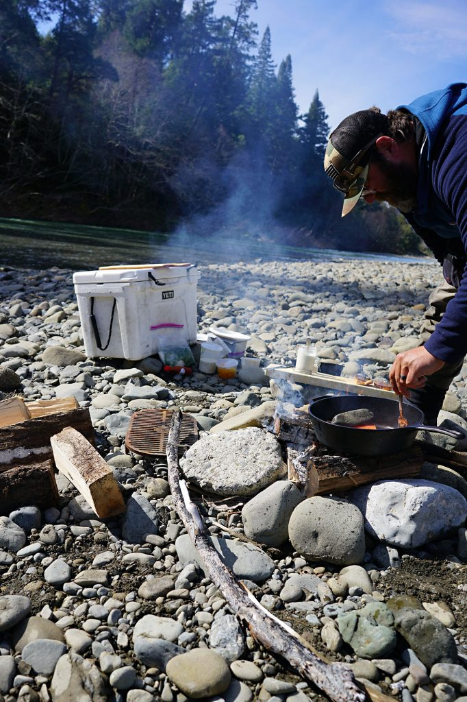 Chef Josh Schwartz preparing a Hatchery Steelhead plate