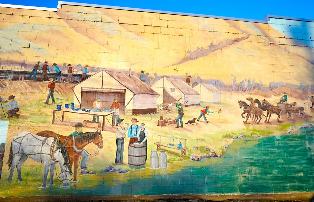 Train Mural in Maupin, Oregon