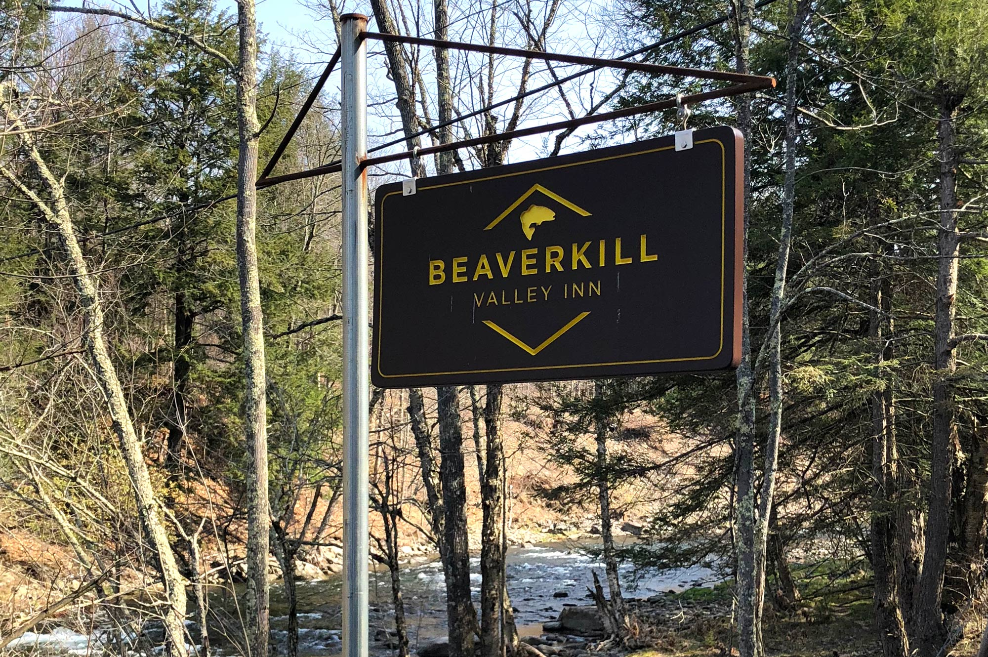 Beaverkill Valley Inn sign on the riverside