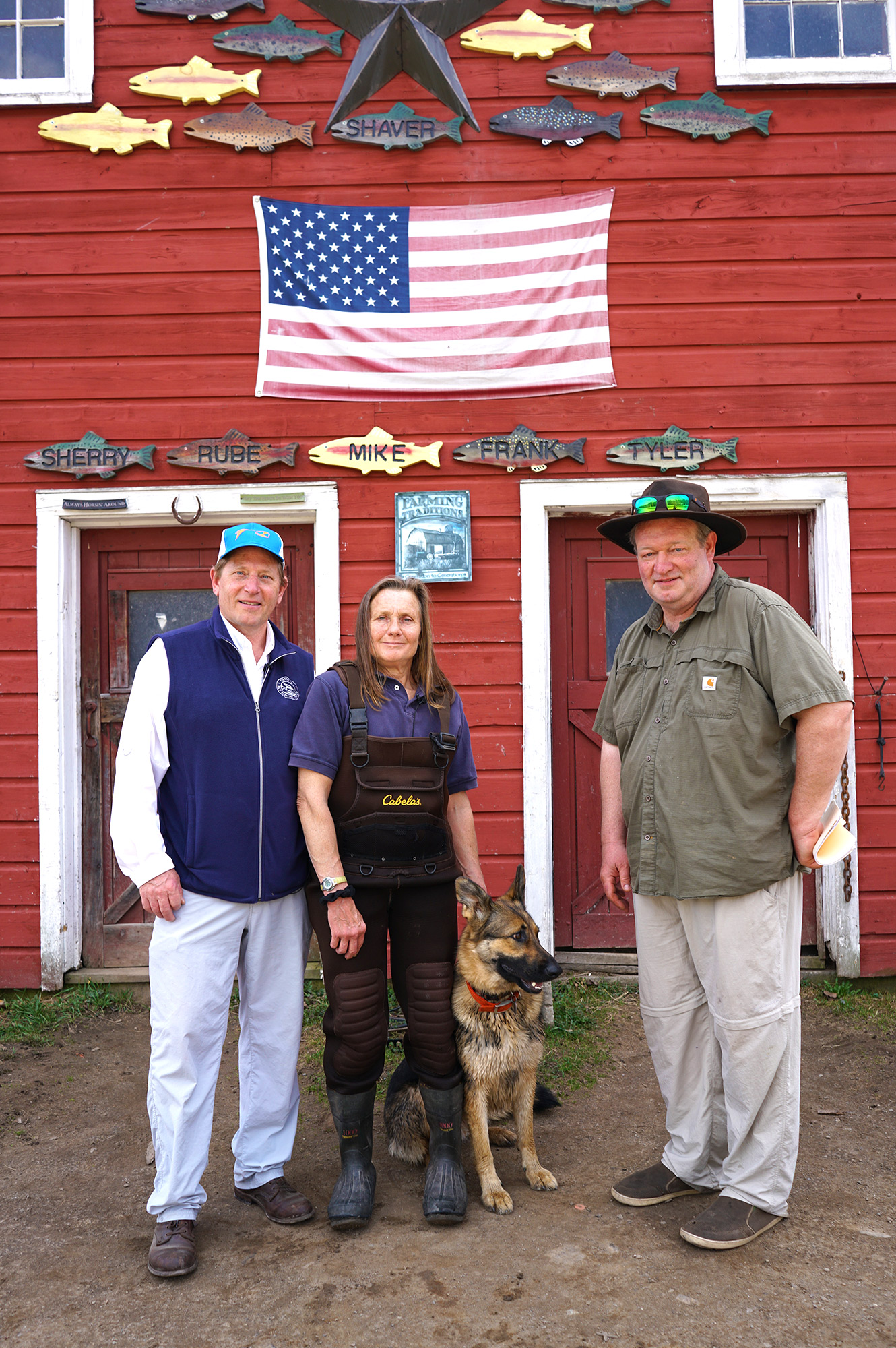 At the Beaverkill Trout Farm with owner Sherry Shaver, Chef Galen Sampson & the dog Jess