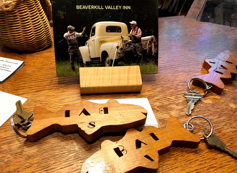 Beaverkill Valley Inn wooden fish keys and postcard