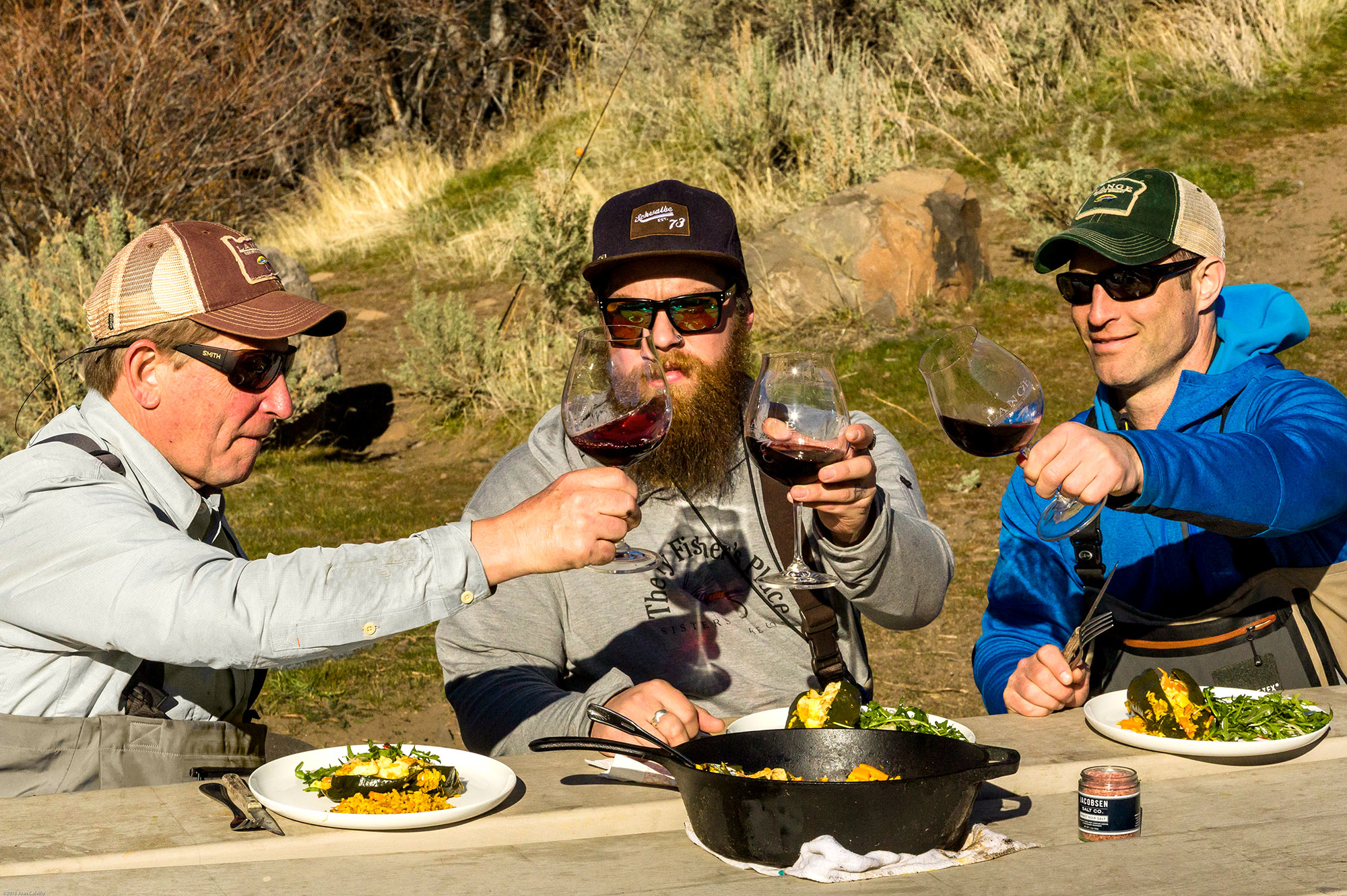 Enjoying the finishe meal alongside the Deschutes River