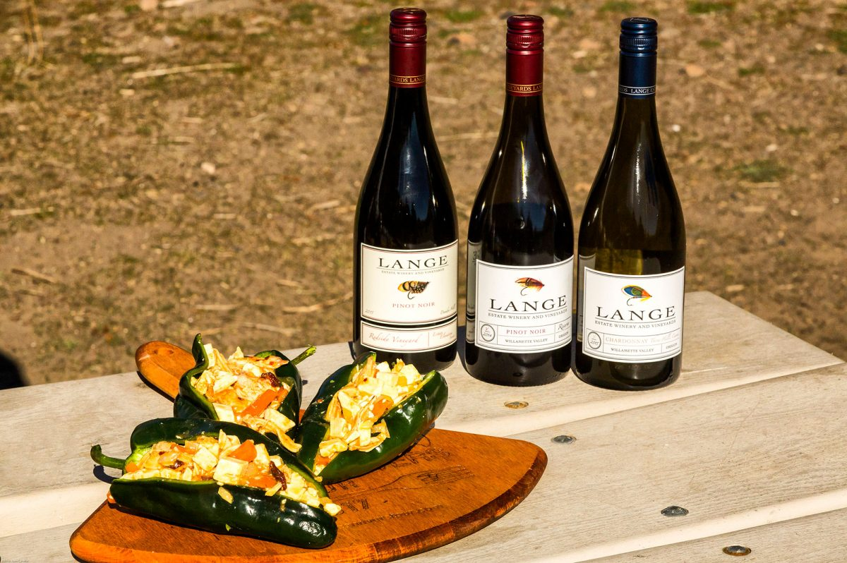 Chili Chicken Rellenos go well with wine from the Lange Vineyards