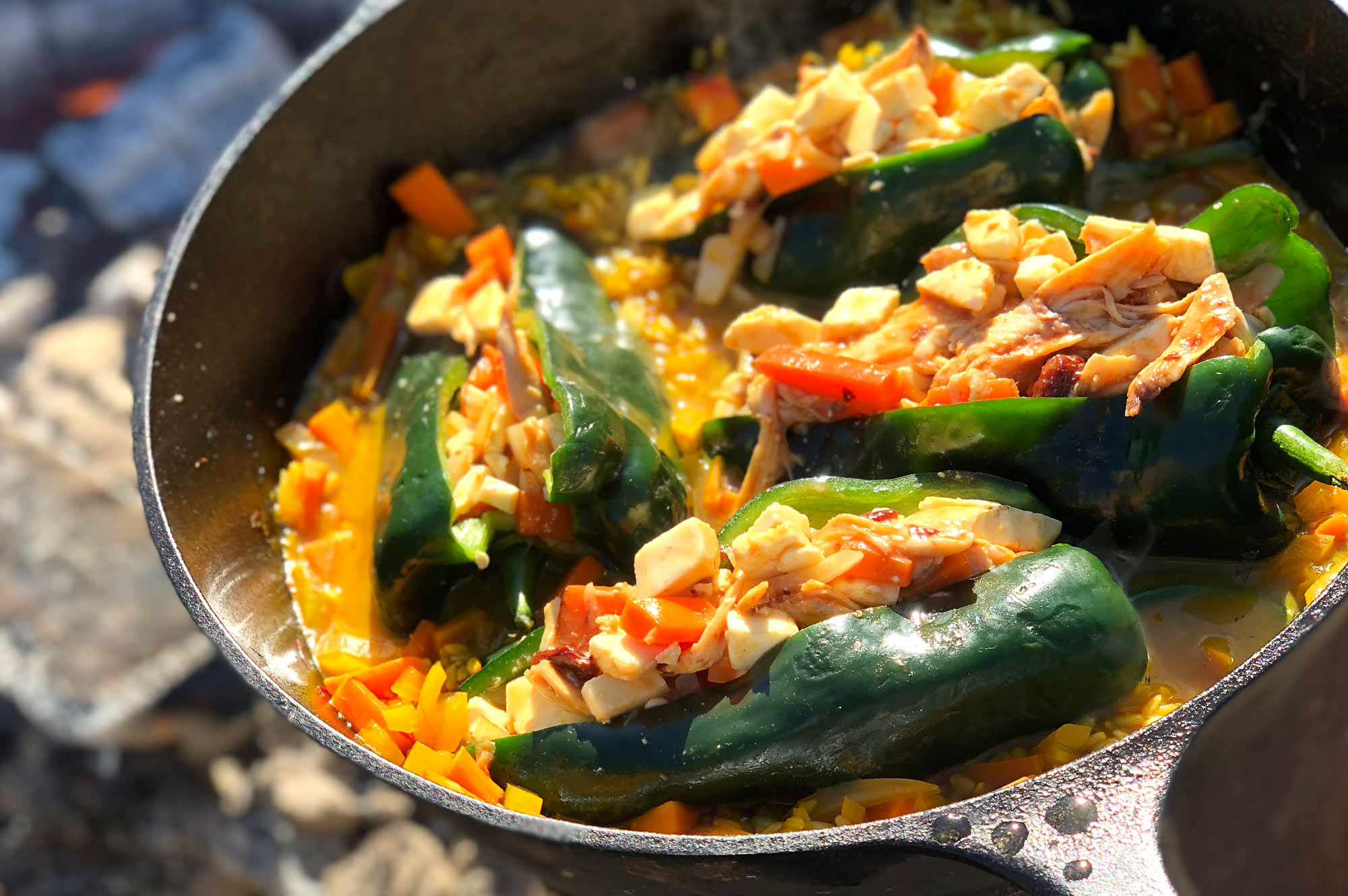 Chili chicken rellenos over coals