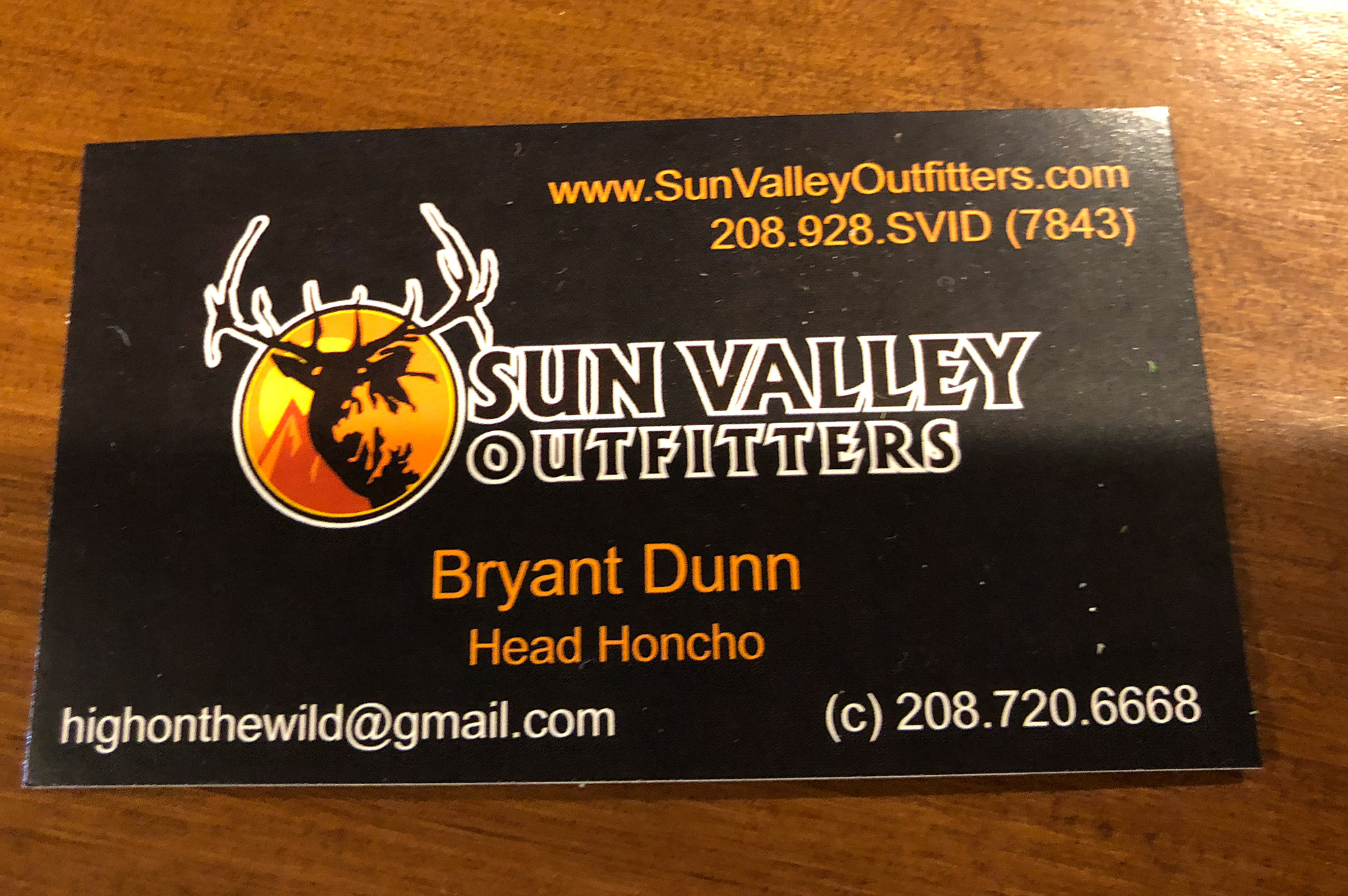 Sun Valley Outfitters guide card