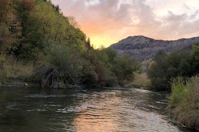 Black Smith Fork River, Utah sunset