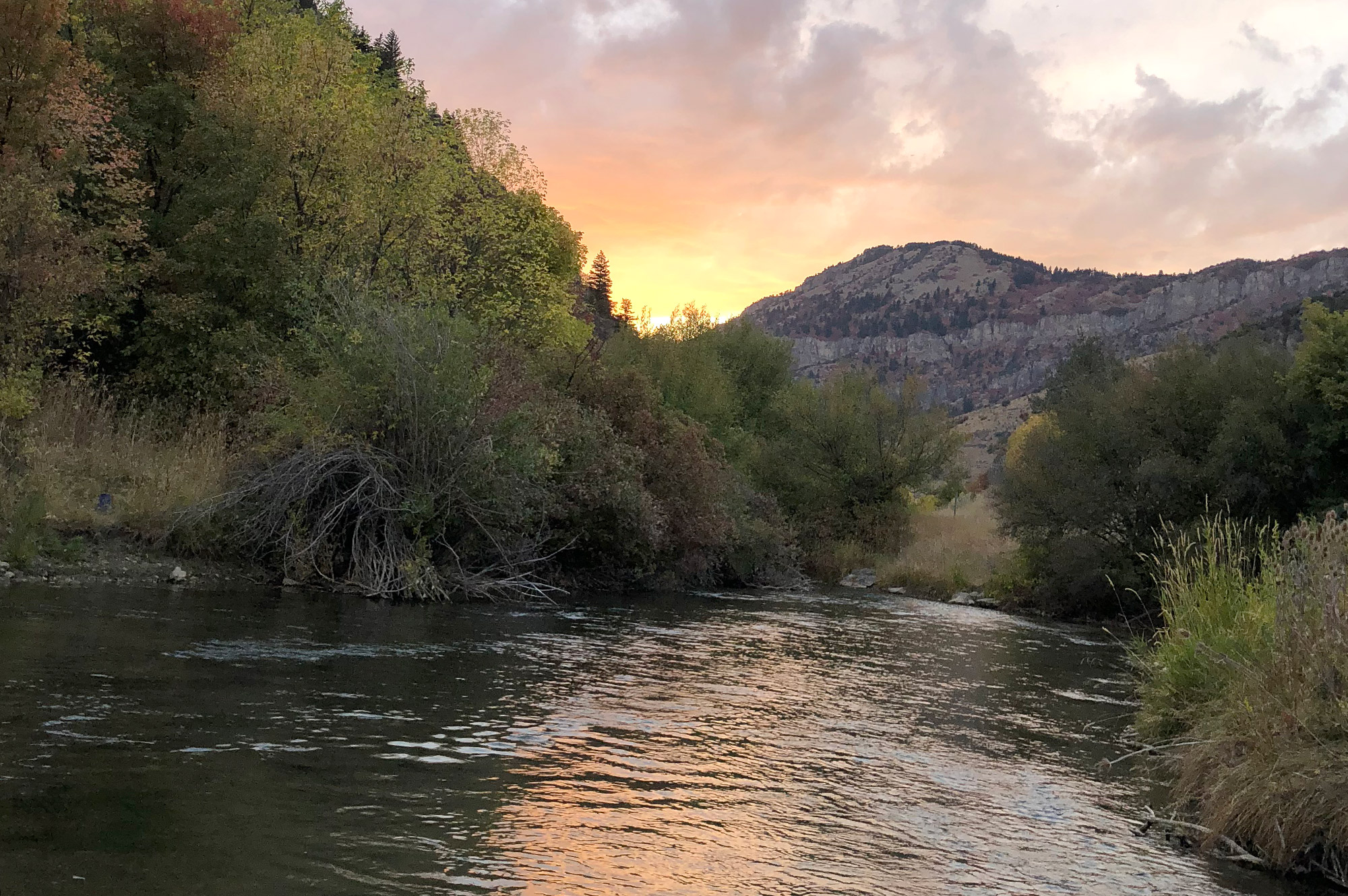 Black Smith Fork River, Utah sunset