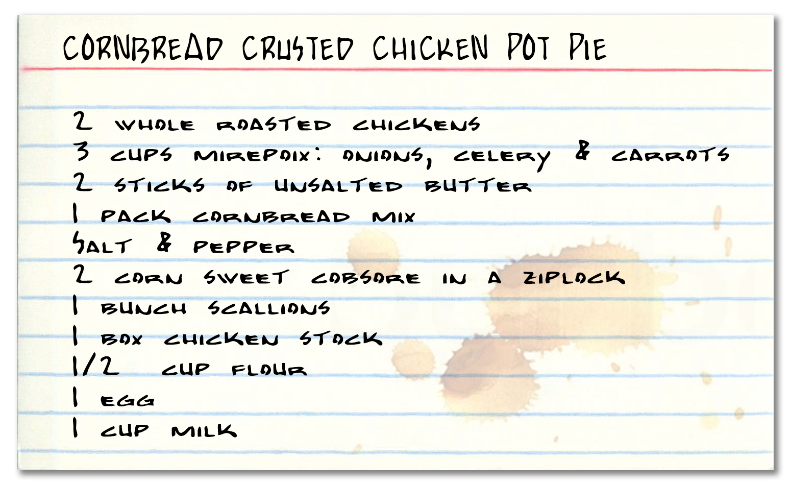 Recipe card for Cornbread crusted chicken pot pie