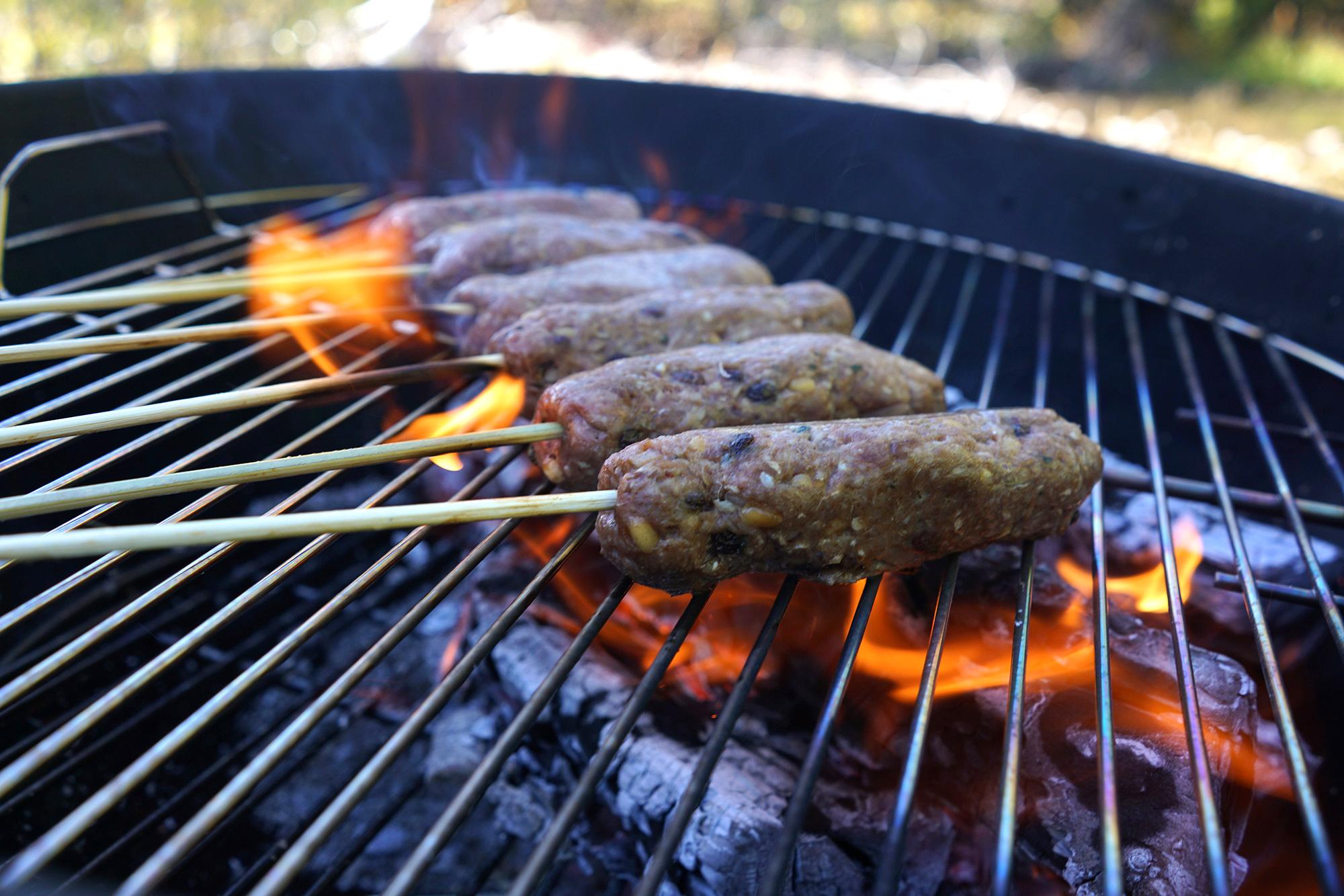 Turkish Lamb Kebabs cooking riverside