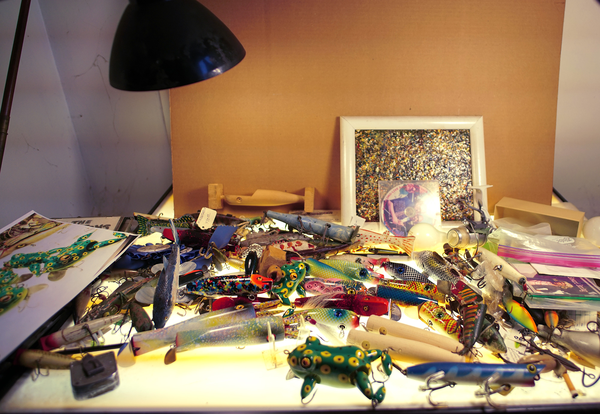 Aage Bjerring's lures in his studio in Water Mill, New York