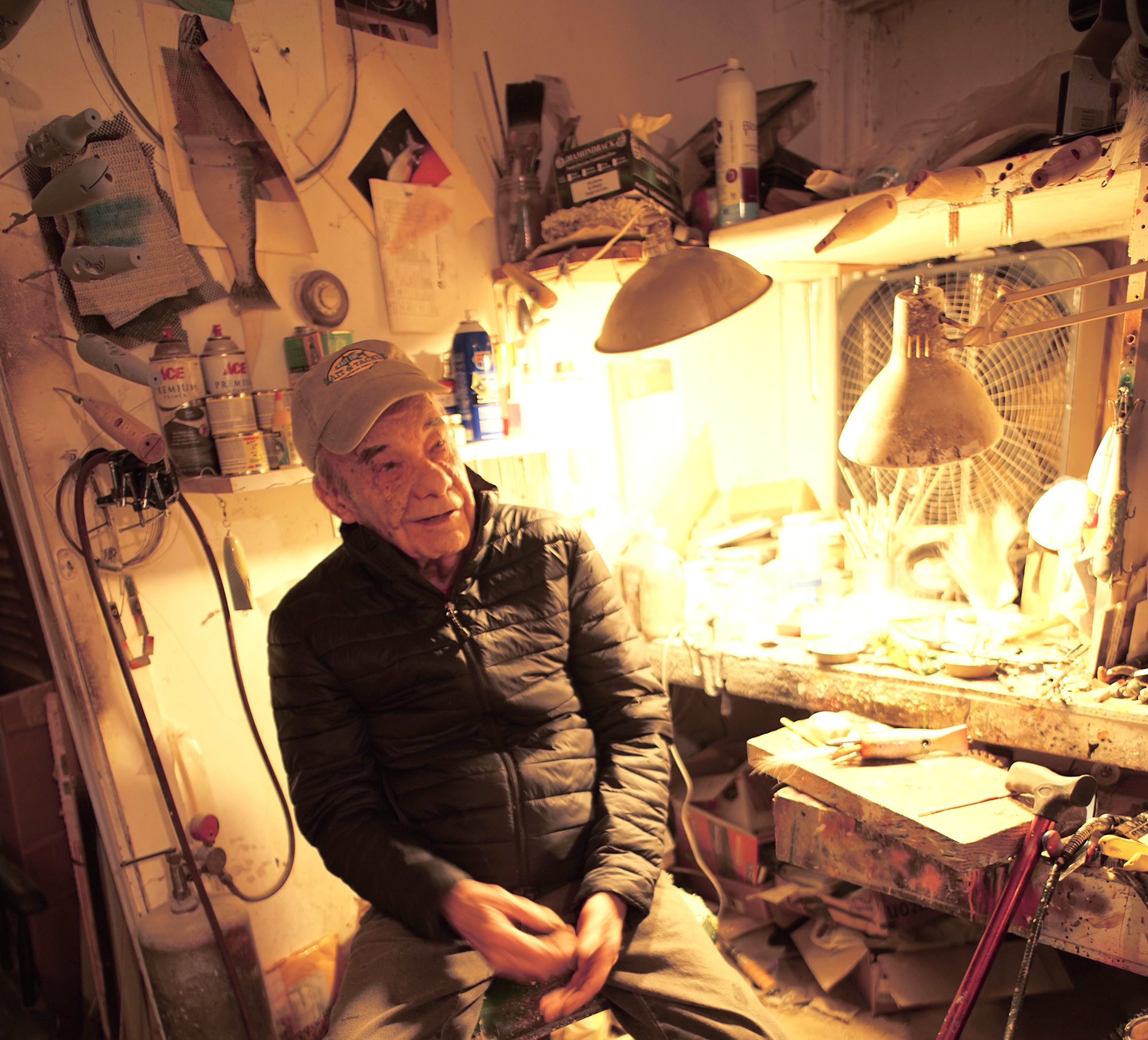 Aage Bjerring in his studio in Water Mill, New York